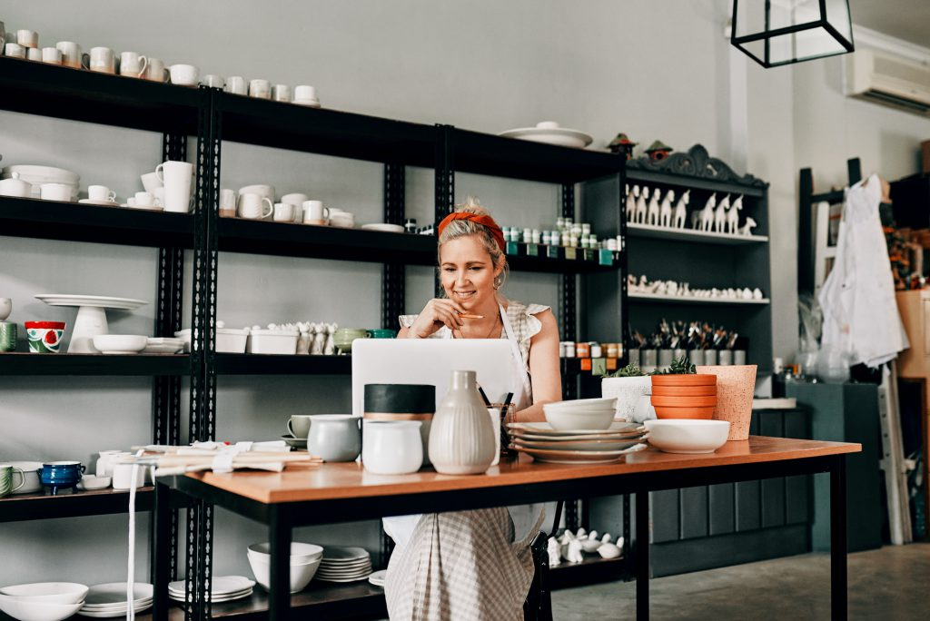 Female business owner creating a business plan
