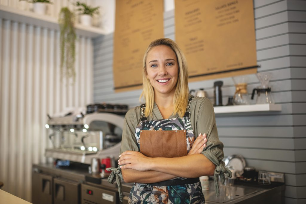 Women smiling at small business