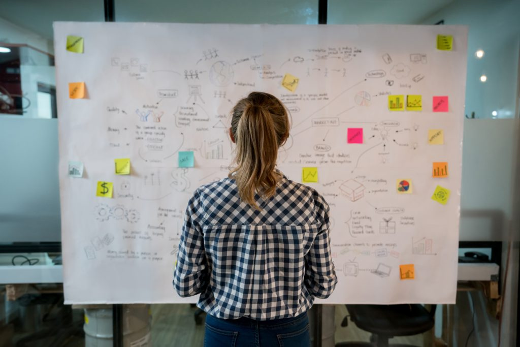 Woman Facing Business Plan on White Board